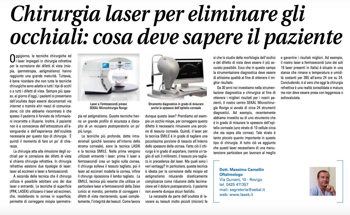 Chirurgia laser per eliminare gli occhiali: cosa deve sapere il paziente